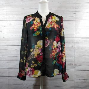 Miss Me MM couture floral sheer top